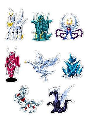 Ímãs Decorativos Cavaleiros do Zodíaco Set J - 8 unid