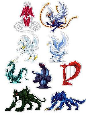 Ímãs Decorativos Cavaleiros do Zodíaco Set K - 9 unid