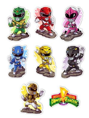 Ímãs Decorativos Power Rangers Set A - 9 unid