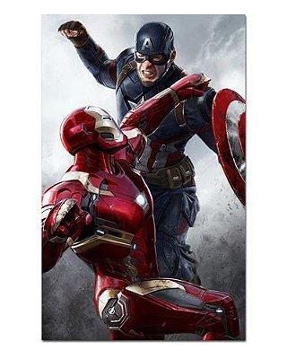 Ímã Decorativo Capitão América e Iron Man - Marvel Comics - IQM89