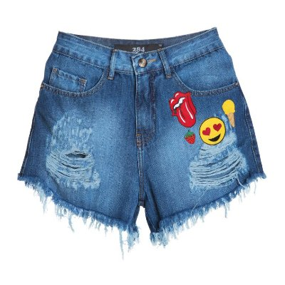 SHORT JEANS CINTURA ALTA PATCHES