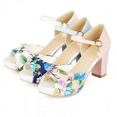 Sandália de salto Floral