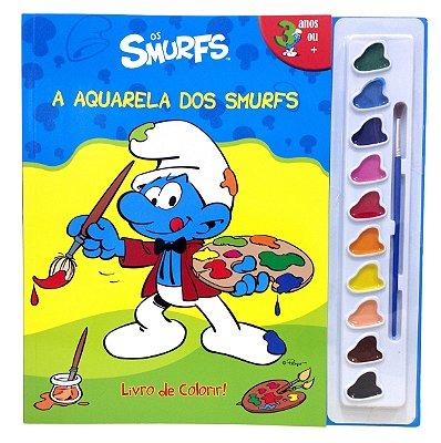 Livro de Colorir a Aquarela dos Smurfs