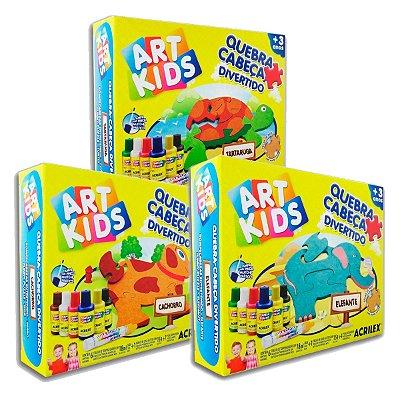 Coleção com 3 Quebra-Cabeças Divertidos em MDF da Art Kids Acrilex