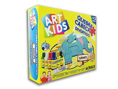 Quebra Cabeça Divertido Elefante em MDF Art Kids Acrilex