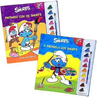 Coleção Os Smurfs com 2 Livros de Colorir