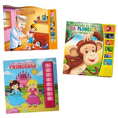 Coleção Livros Sonoros com 3 Livros Infantis Sortidos