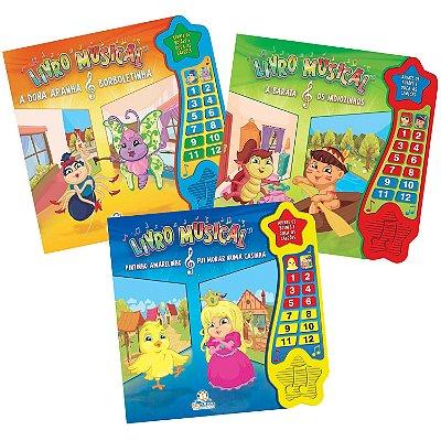 Coleção Livros Musicais com 3 Livros Infantis com Música