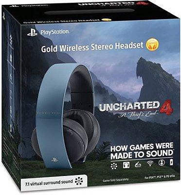 Headset Sony Gold Stereo (Edição Uncharted 4) Sem Fio - PS3, PS4 e PS Vita