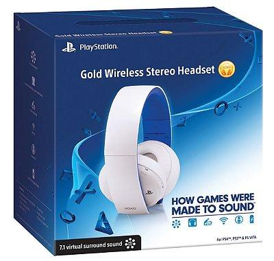 Headset Sony Gold Stereo 7.1 Sem Fio - Branco - PS4, PS3 e PS Vita