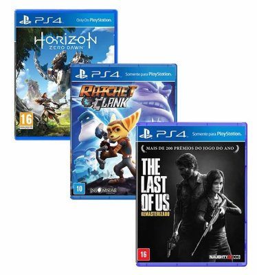 Combo Jogos Horizon Zero Dawn + Ratchet Clank + The Last Of Us - PS4