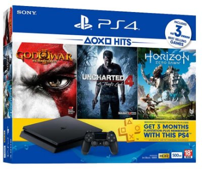 Console Playstation 4 Slim 500 Gb Bundle Hits - God of War 3 + Uncharted 4 + Horizon Zero Dawn - Sony