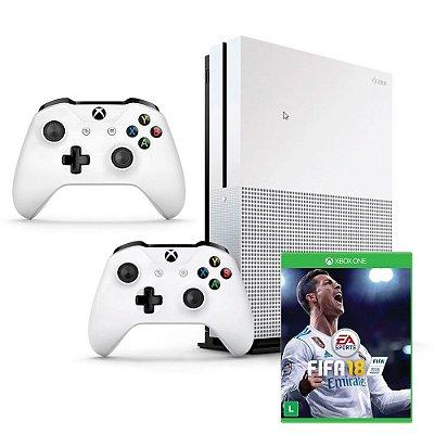 Xbox One S 4k Branco 500 gb + Fifa 18 (Mídia Física) Com 2 Controles - Microsoft