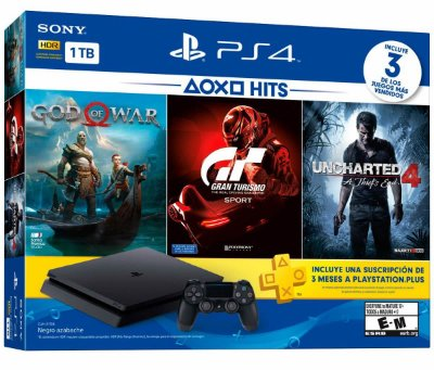 Console Playstation 4 Slim 1 Tera Bundle Hits - God of War + Gran Turismo + Uncharted 4 + PSN - Sony