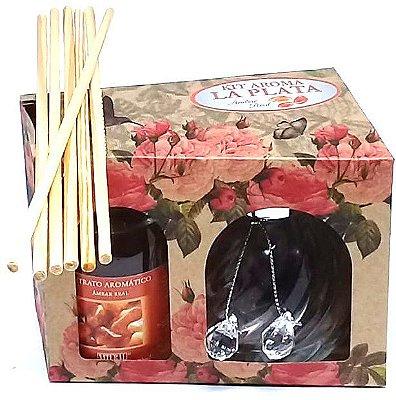 Difusor de Aromas La Plata Âmbar Real 120ml - Kit Presente