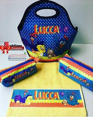 Kit Personalizado com 03 peças - Lancheira Semi Térmica + Estojo + Toalhinha de Mão