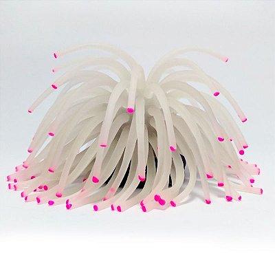 Enfeite de Aquário Soma Anêmona Silicone Short Branca 11cm 057150