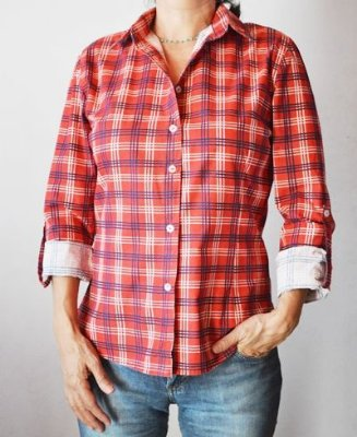 Camisa feminina xadrez manga longa vermelha