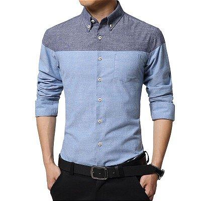 Camisa Bicolor Azul - Masculina