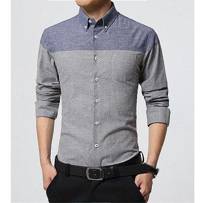 Camisa Bicolor Cinza - Masculina