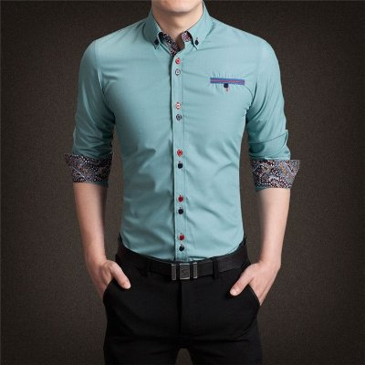 Camisa Punho Estampado Verde - Masculina