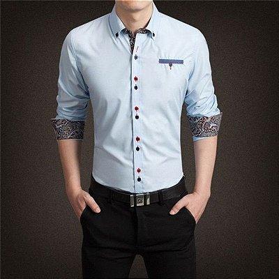 Camisa Punho Estampado Azul Claro - Masculina