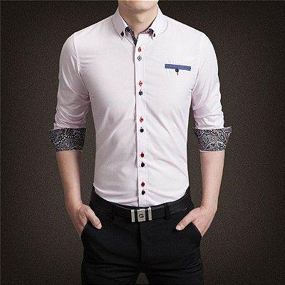 Camisa Punho Estampado Rosa Claro - Masculina