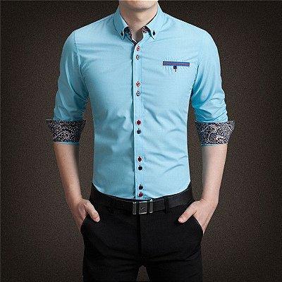 Camisa Punho Estampado Azul - Masculina