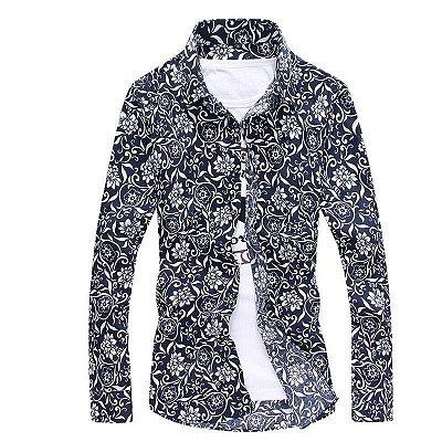 Camisa Floral Arabescos Azul - Masculina