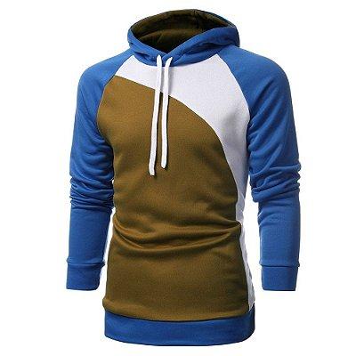 Moletom Colors Masculino - Mostarda e Azul