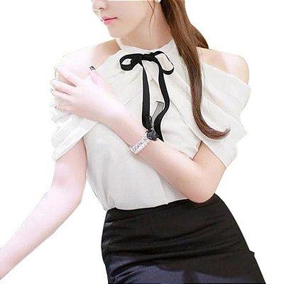 Blusa Off Shoulder Branco e Preto