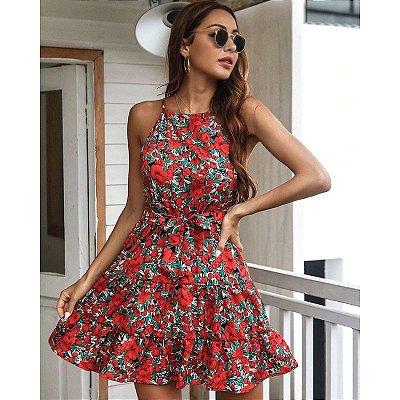 Vestido Trapézio Floral com Amarração - 3 cores