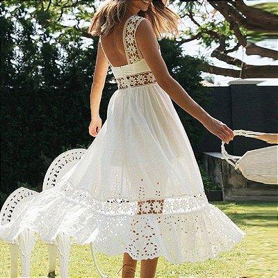 Vestido Midi Boho White