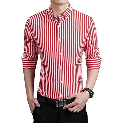 Camisa Masculina Listrada Vermelha