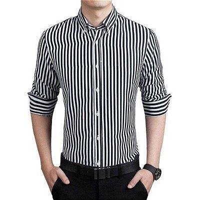 Camisa Masculina Listrada Preta