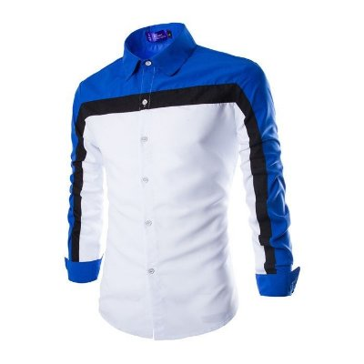Camisa Masculina Contraste Azul e Branca