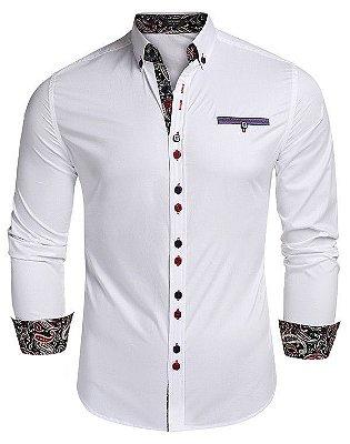 Camisa Punho Estampado Branca - Masculina
