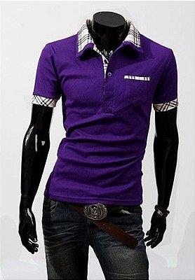 Camiseta Masculina Detalhe Xadrez Roxa