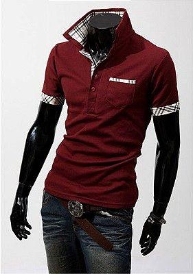 Camiseta Masculina Detalhe Xadrez Vinho