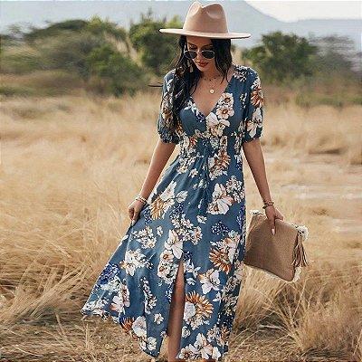 Vestido Maxi Floral com Fenda - 3 cores