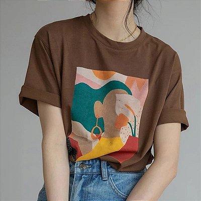 Camiseta Estampa Abstrata - 6 cores