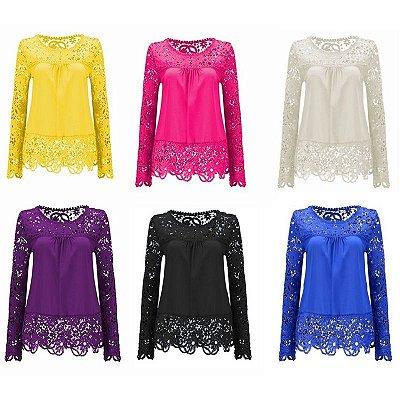 Blusa com Mangas de Renda - 6 cores
