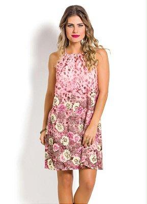 Vestido Floral e Rosa com Amarração nas Costas