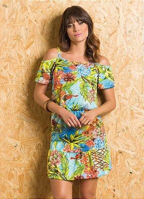 Vestido Ciganinha com Babado na Barra Tropical