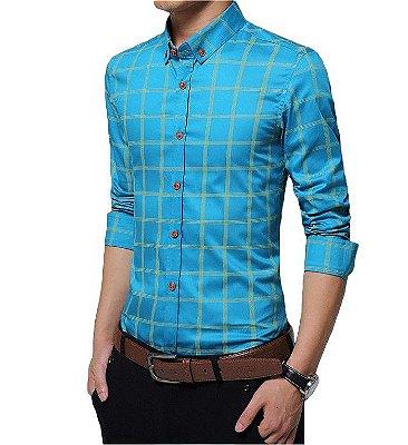 Camisa Masculina Estampa Quadriculada - 7 cores