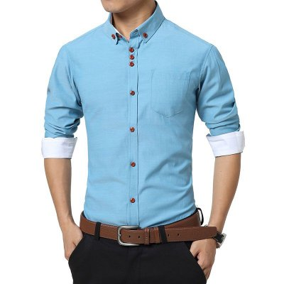 Camisa Masculina Lisa Punho Branco - 6 cores