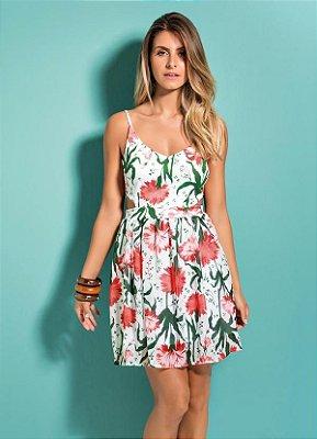 Vestido Floral com Decote V nas Costas