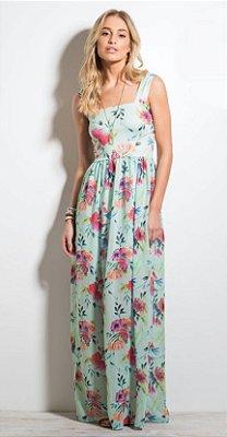Vestido Longo Floral em Chiffon