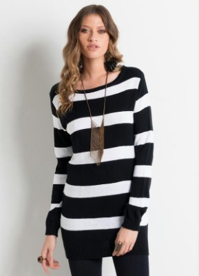 Suéter de Tricô Alongado Preto e Branco Listrado