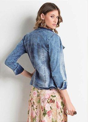 Jaqueta Jeans Marmorizado